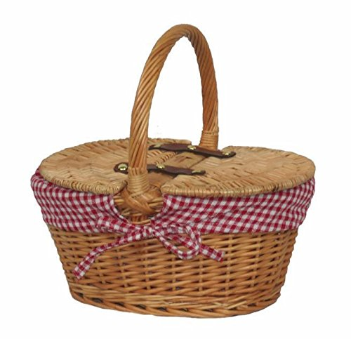 Child's Lined Oval Lidded Picnic Basket by Red Hamper