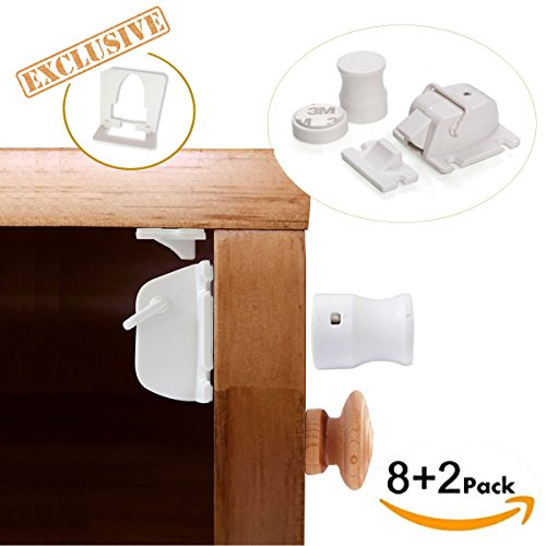 Magnetic Cabinet Locks for child safety - No Tools Or Screws Needed ( 8 Locks + 2 keys ) with NEW EXCLUSIVE installation tool