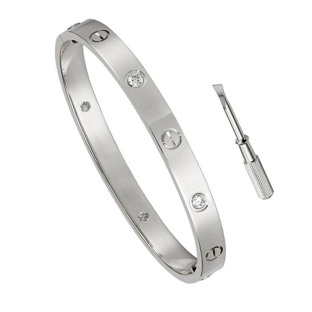 Y.S.M.Y Birthday Gift for Him Love Bracelet- Titanium Steel Screw Hinged Cuff Bangle Bracelet White Gold w/CZ Stone 7.5IN