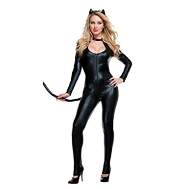 Sexy Adult women Cat Costume black leather cat girl costumes sexy halloween apperal Cosplay  sc 1 st  Amazon UK & Sexy Adult women Cat Costume black leather cat girl costumes sexy ...