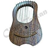 Engraved Lyre Harp Sheesham Wood 10 Metal Strings Free Carrying Case & Key