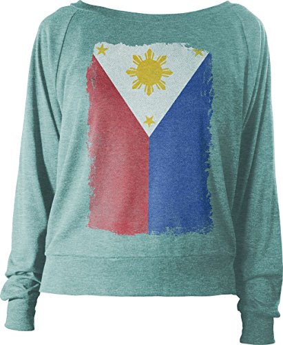 Big Texas Weathered Flag of the Philippines Women's Long-Sleeve Relax Fit Top, Light Green Marle, M