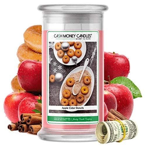 Cash Money Candles | $2-$2500 Inside | Guaranteed Rare $2 Bill | Large Long-Lasting 21oz Jar All Natural Soy Candle | Hand Poured Made in The USA Family Owned (Apple Cider Donuts)