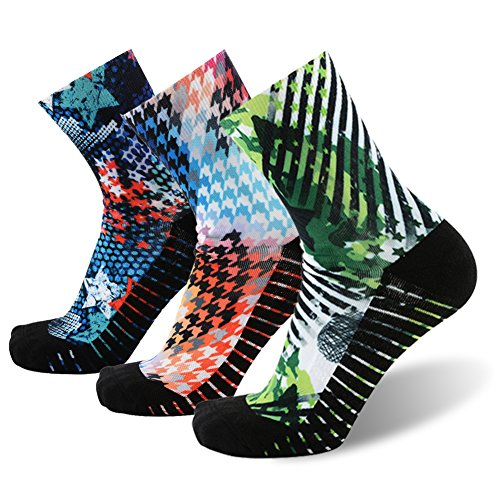 - MEIKAN Awesome Colorful Funky Socks, Classic Novelty Printing Athletic Dri Fit Quick Wicking Running Cycling Ankle Socks 3 Pairs (Multicolor, Medium)