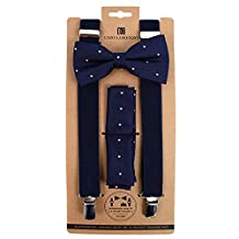 Men's Navy Blue & Beige Polka Dot 3 PC Clip-on Suspenders, Bow Tie and Hankie Set