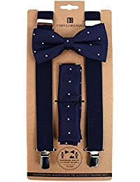 Umo Lorenzo Mens Polka-Dot Bow Tie Handkerchief & Clip-End Suspender Set, Grey