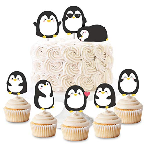 Penguin Cupcake Toppers Picks for Birthday Party Baby Shower Supplies 24