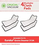 4 Eureka Enviro Floor Steamer Washable & Reusable Pads, Fit Eureka Enviro Floor Steamer 310A, 311A, 313A, Compare To Eureka Enviro Hard Floor Steam Cleaner Part # 60978, 60980, 60980A, Designed & Engineered By Crucial Vacuum