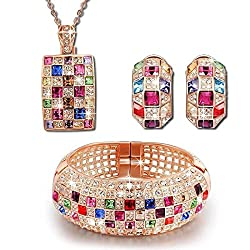 Multicolor Swarovski Necklace Pendant Bangle Earrings Set