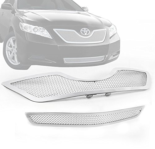 ZMAUTOPARTS Upper + Bumper Stainless Steel Mesh Grille Grill Insert Combo Set Chrome For 2007-2009 Toyota Camry