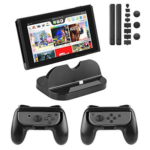 PECHAM Accessory Kit for Nintendo Switch with Joy-Con Comfort Grip, Nintendo Switch Console Charging Dock Stand, Dustproof Set kit (Black)
