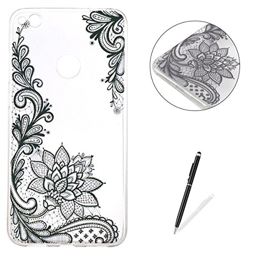 Huawei P8 Lite 2017 Silicone Case Clear [Free 2 in 1 Stylus Pen],KaseHom Unique Stylish Design Transparent Slim-Fit [Shockproof] TPU Rubber Bumper Cover [Anti Scratch] Jelly Skin Shell Lace (Halloween Day 2017 London)