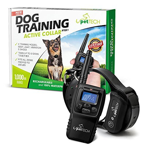 amazon com pettech pt0x1 premium dog training shock collar fully waterproof 1000ft range pettech pet supplies