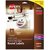 """Avery Easy Peel Print-to-the-Edge Glossy Clear Round Labels, 2"""" Diameter, Pack of 120 (22825)"""
