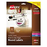 Avery Easy Peel Print-to-the-Edge Glossy Clear Round Labels, 2'' Diameter, Pack of 120 (22825)