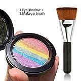 Travelmall Rainbow Cake eyeshadow blush makeup rainbow highlighter & one matching makeup brush (rainbow)