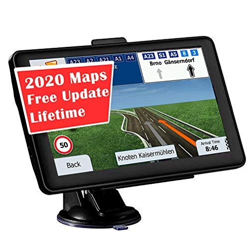 GPS Navigation for car, 7-inch Display 256MB-8GB Real Voice Droadcast Route United States 2020 map (Free Lifetime Map Update)