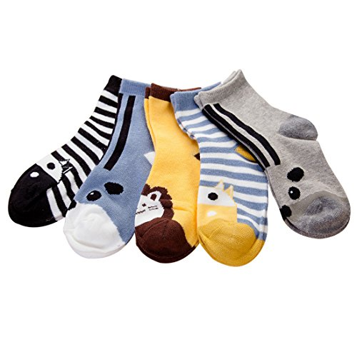 Price comparison product image VWU 5 Pack Girls Boys Cartoon Ankle Socks cotton socks 3-10Y (3-5 years old,  Animal 1)