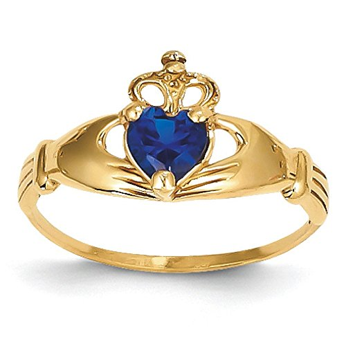 14K Gold September Birthstone Synthetic Claddagh Ring (yellow-gold)