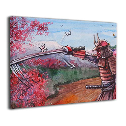Okoart Canvas Wall Art Prints Japanese Samurai with Sword with Cherry Blossoms -Photo Paintings Modern Decorative Giclee Artwork Wall Decor-Wood Frame Gallery Wrapped ()