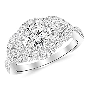 1.5 Carat Designer Halo Milgrain Diamond Engagement Ring 14K Black Gold with a 0.75 Carat D-E VS1-VS2 Round Brilliant Cut/Shape Center