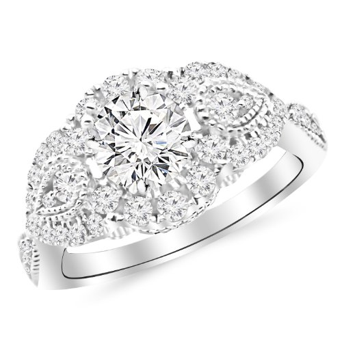 1.41 Carat Designer Halo Milgrain Diamond Engagement Ring with a 0.63 Carat J K VS2 SI1 Center