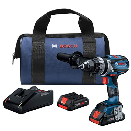 Bosch GSR18V-755CB25 18V EC Brushless Connected-Ready Brute Tough 1/2 In. Drill/Driver Kit with (2) CORE18V 4.0 Ah Compact Batteries