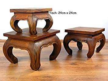 Delicieux Asian Opium Table, Plant Stand, Small Coffee Table, 24cm X 24cm, Handmade