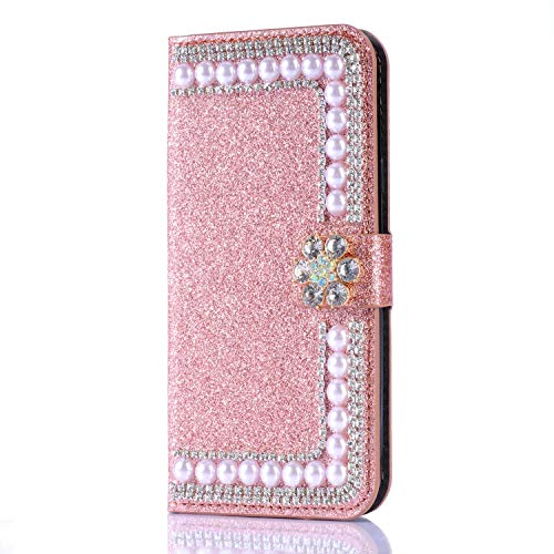 Glitter Wallet Case for Samsung Galaxy S10e,Gostyle Bling Diamond 3D Pearl Flip Leather Case with Card Holder,Crystal Rhinestone Flower Magnetic Clasp Stand Cover-Pearl Rose Gold