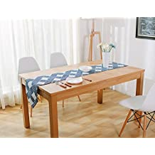 Hmlover Contemporary Retro Style Cotton Linen Table Runner without Tassel Navy Grid Scale 1Pcs
