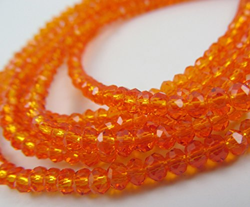 BeadsOne 55pcs Glass Rondelle Faceted Beads 8mm Orange Orange C46 (Faceted Rondelle Crystal Beads)