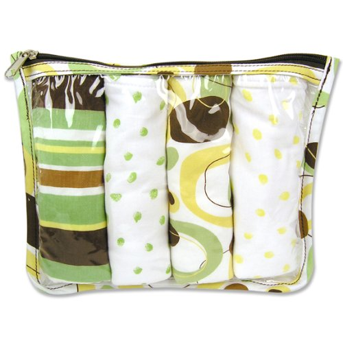(Trend Lab Burps in Clear Zip Pouch, Gigi Print, Set of 4 )