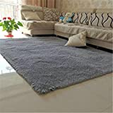 80X120cm Silky Carpet Mats Sofa Bedroom Living Room Anti-Slip Floor Carpets gray 80x120cm