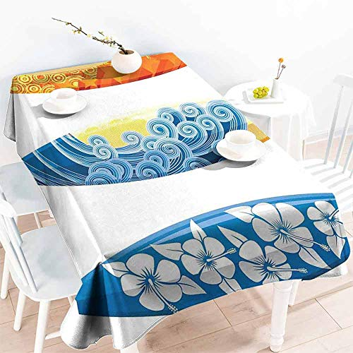 HCCJLCKS Washable Table Cloth Surf Decor Ornate Colorful Surfboards Vocation Fun Water Sports Moving Waves Lifestyle Art Easy to Clean W60 xL102 Blue Orange Yellow -