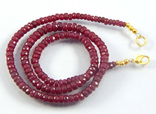 Ruby Gemstone Beads 1 strand necklace, Ruby faceted rondelle beads 3-6mm