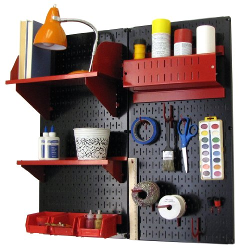 Wall Control 30-CC-200 BR Hobby Craft Pegboard Organizer Storage Kit with Black Pegboard and Red Accessories