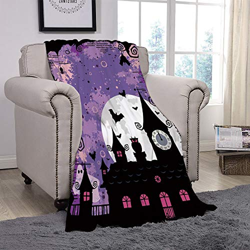 Light weight Fleece Throw Blanket/Vintage Halloween,Halloween Midnight Image with Bleak Background Ghosts Towers and Bats Decorative,Purple Black/for Couch Bed Sofa for Adults Teen Girls Boys -
