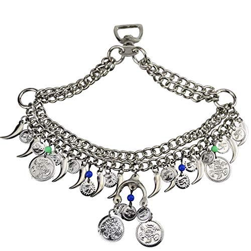 NileCart Native Egyptian/Arabian Classic Horse Noseband Chains Dance Show Saddle tack with Diggers and Coins Ornaments (Chrome -