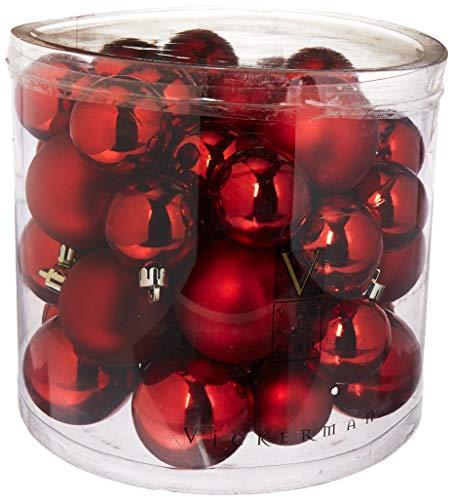 (Vickerman Shiny/Matte Balls, Includes 50 Per Box, 1.5 by 2-Inch, Red)
