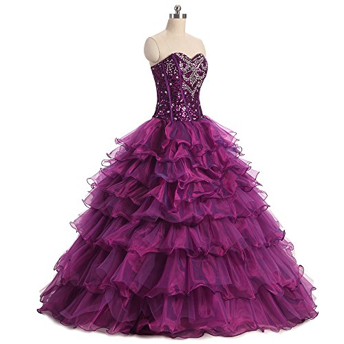 Yellow Sweetheart Women's Ball Dress Diandiai Crystal Beaded Prom Dresses Organza Gown Quinceanera PCxdZB