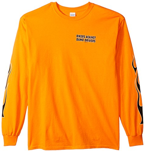 - Hot Leathers Bikers Against Dumb Drivers Long Sleeve T-Shirt (Safety Orange, Large)
