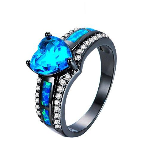 Shireake Baby Multicolor Heart Zircon Blue/Purple Opal Rings Rings For Women Vintage Fashion Black Gold Filled Birthstone Ring (Blue, ()