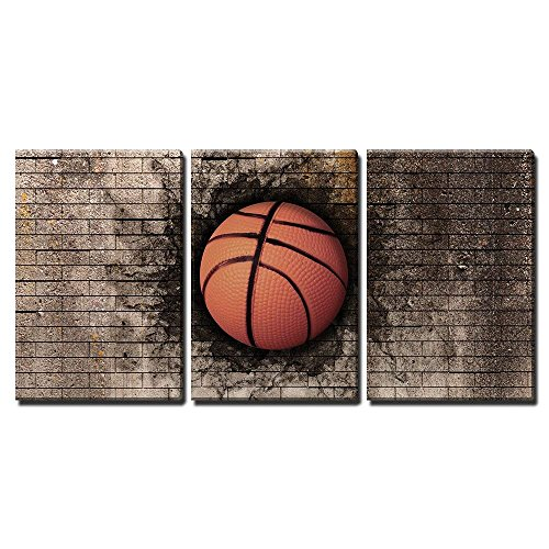 (wall26 - 3 Piece Canvas Wall Art - 3D Rendering of a Basket Ball Embedded in a Brick Wall - Modern Home Decor Stretched and Framed Ready to Hang - 16