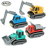 CORPER TOYS Construction Vehicles Toys Metal Engineering Tractor Mini Pull Back Cars Play Set Party Supplies for Kids Toddler Boys - Pack of 4