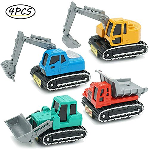 CORPER TOYS Construction Vehicles Toys Metal Engineering Tractor Mini Pull Back Cars Play Set Party Supplies for Kids Toddler Boys - Pack of 4 by CORPER TOYS