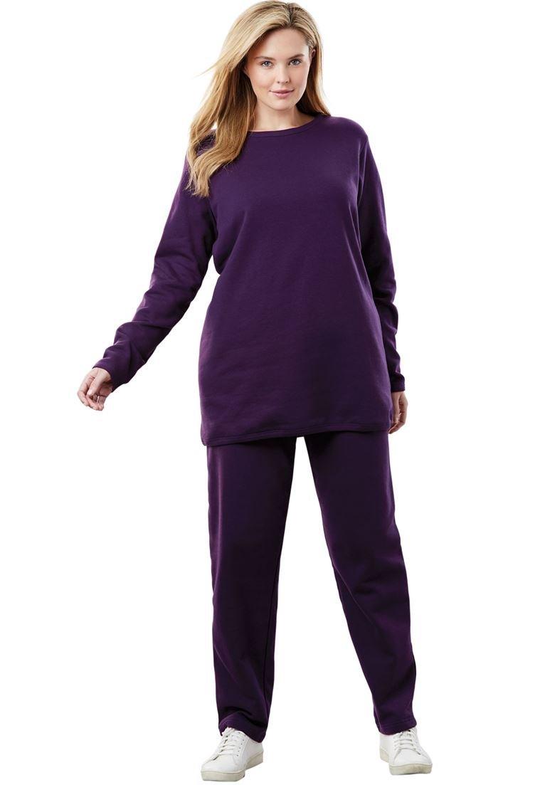Women's Plus Size 2-Pc Fleece Sweatsuit Midnight Plum,4X
