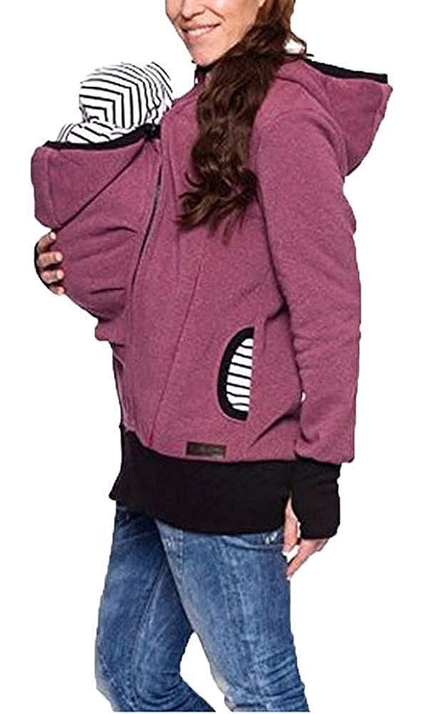 Emmay Tragejacke F/ür Mama Und Baby Wesentlich Umstandsjacke Jacke F/ür Damen Winter Fleece Warm Softhell Tragetuch Babytrage Schwangerschaftsjacke Kapuzenjacke Sweatshirts Schwarz Blau