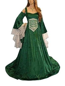 Guiran Disfraz Medieval Mujer Largo Vestidos de Novia Vintage Verde M