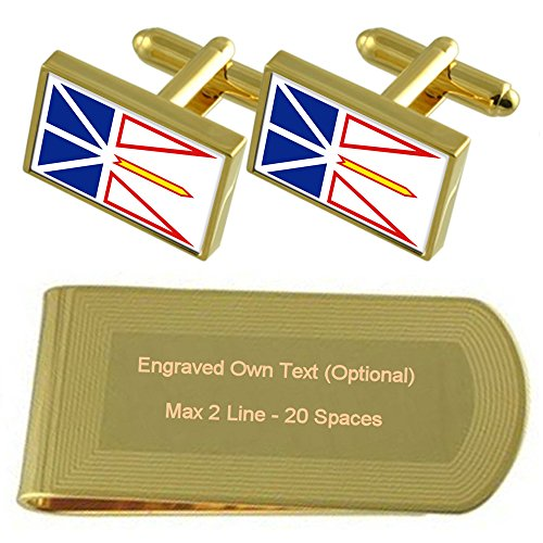 Flag Engraved Gift Gold Newfoundland Clip Labrador Money Cufflinks amp; Set tone 8znwpZxE1q