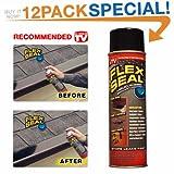 Flex Seal Spray Rubber Sealant Coating, 10-oz, Black (12 Pack)